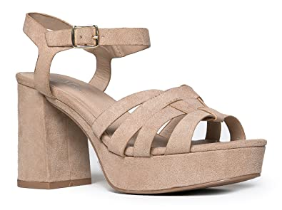 Amazon.com | Womens Platform Ankle Strap Low Heel - Chunky Open ...