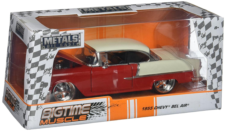 JADA 1 24 Metals Big Time Muscle 1955 Chevrolet Bel Air Hardtop Diecast Vehicle, Red