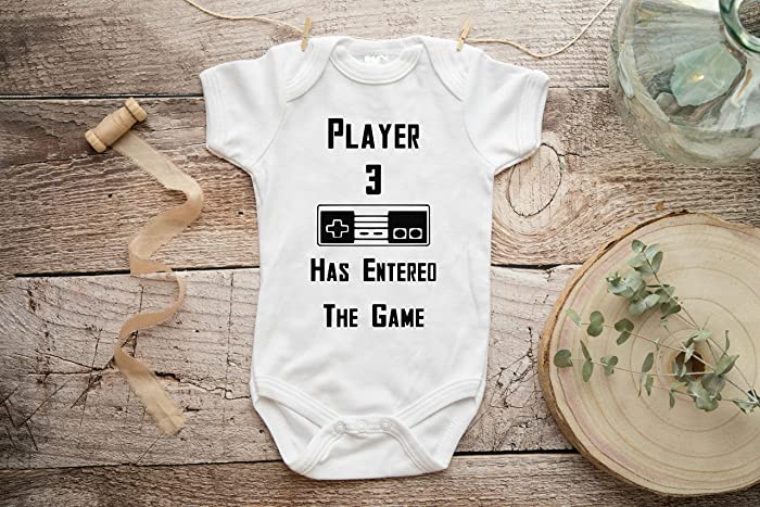 4d6c6a78b2a Amazon.com: Player 3 Has Entered The Game baby announcement onesie ...