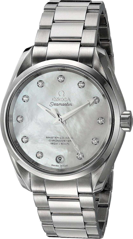 Omega Aqua Terra–de la mujer de vestido de acero inoxidable reloj de cuarzo suizo, color: silver-toned (modelo: 23110392155002)