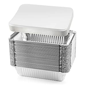 "NYHI 50-Pack Heavy Duty Disposable Aluminum Oblong Foil Pans with Lid Covers Recyclable Tin Food Storage Tray Extra-Sturdy Containers for Cooking, Baking, Meal Prep, Takeout - 8.4"" x 5.9"" - 2.25lb"