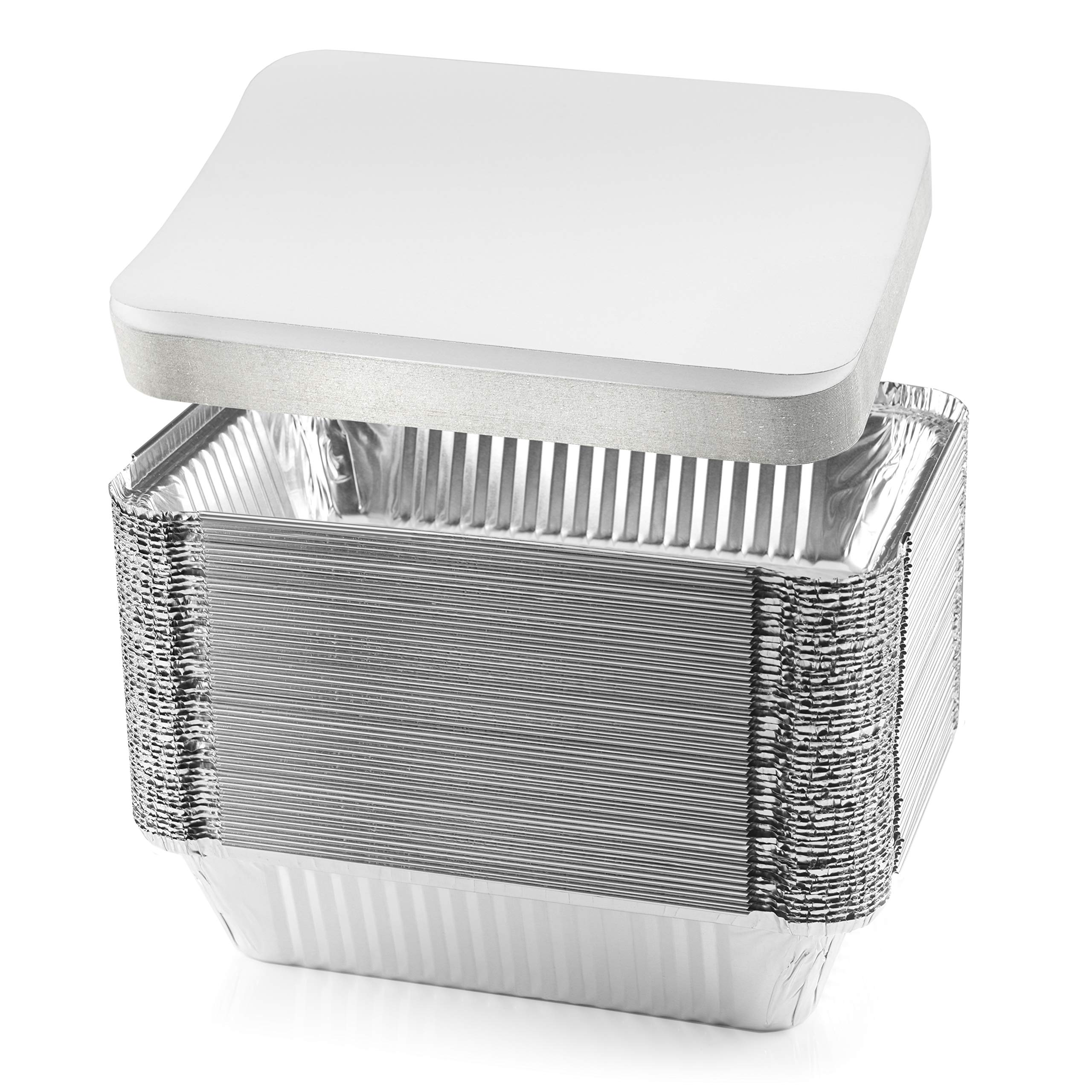NYHI 50-Pack Heavy Duty Disposable Aluminum Oblong Foil Pans with Lid Covers Recyclable Tin Food Storage Tray Extra-Sturdy Containers for Cooking, Baking, Meal Prep, Takeout - 8.4'' x 5.9'' - 2.25lb