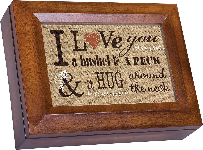 Cottage Garden Love You a Bushel Peck Stitchery Woodgrain Digital Keepsake Music Box Plays My Wish