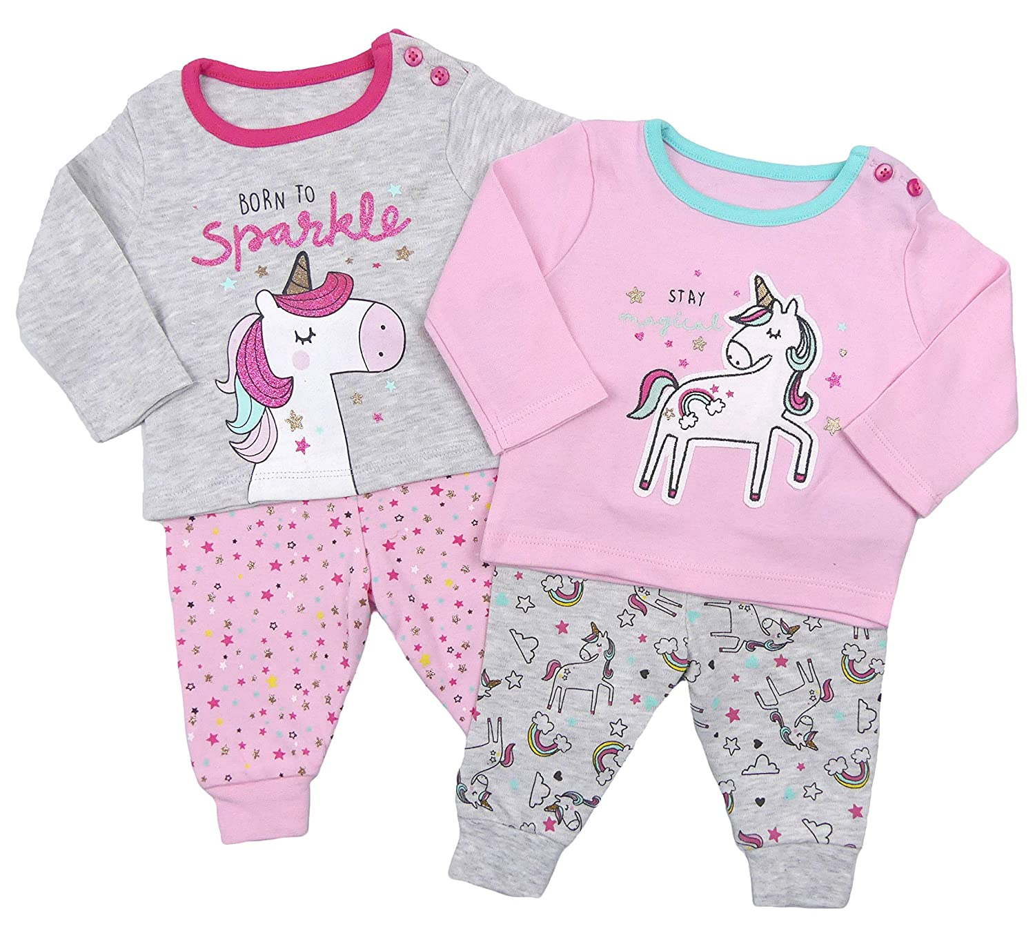Baby Girls Pyjamas Two Pack Mix and Match PJs Snuggle Fit with Free Slipper Socks