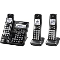 PANASONIC Cordless Phone System with Answering Machine, One-Touch Call Block, Enhanced Noise Reduction, Talking Caller ID and Intercom Voice Paging - 3 Handsets - KX-TGF543B (Black)