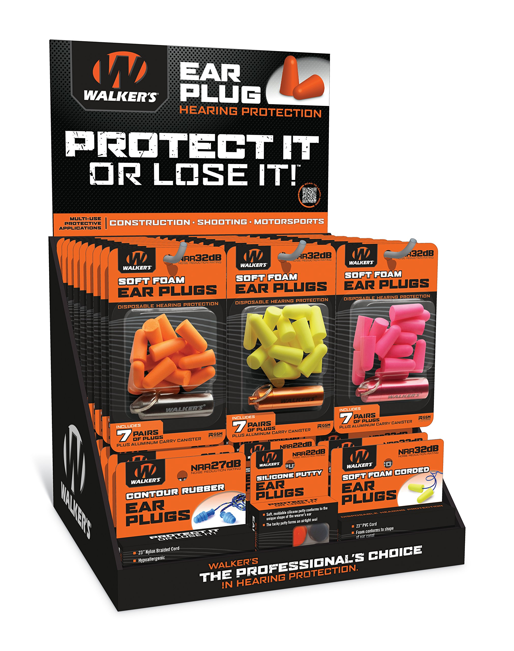 Walker's 58 Assorted GWP-PLUGDIS Ear Plugs Display Ideal for Louder Environments by Walker