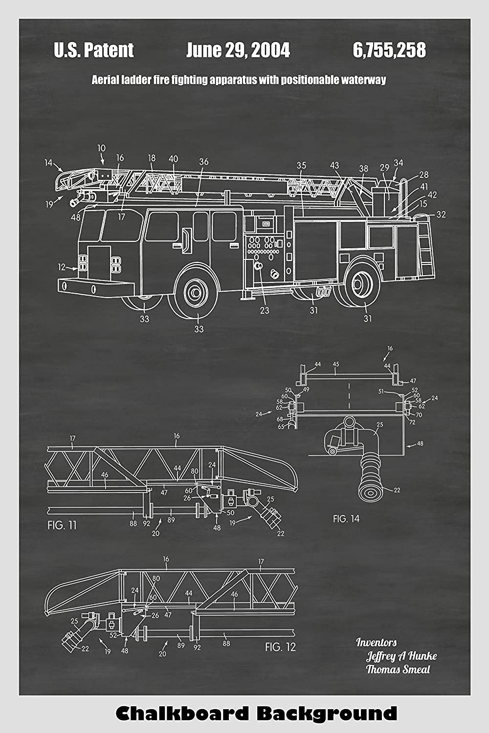 amazon com: fire truck poster patent print art poster: choose from multiple  size and background color options: handmade