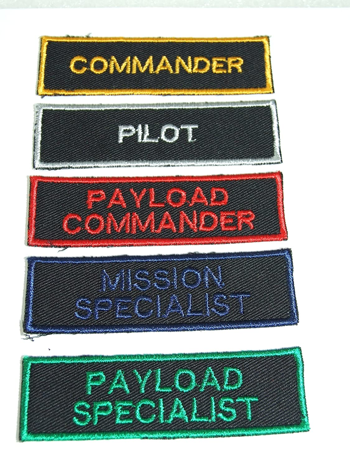 ONEKOOL NASA Space Shuttle Astronaute Patch Set Pilot, Commander, Mission Specialist, Payload Specialist, Payload Commander Branches Image Badges Application emblè me Payload Commander Branches Image Badges Application emblème