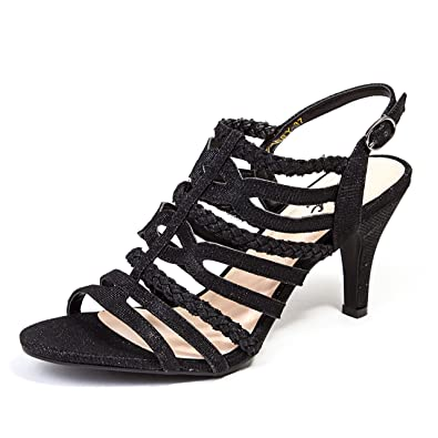 33daf90b905a6e Lady Couture Women s 3 1 2 INCH Heel Strappy Glitter Sandal Gabby Black 35