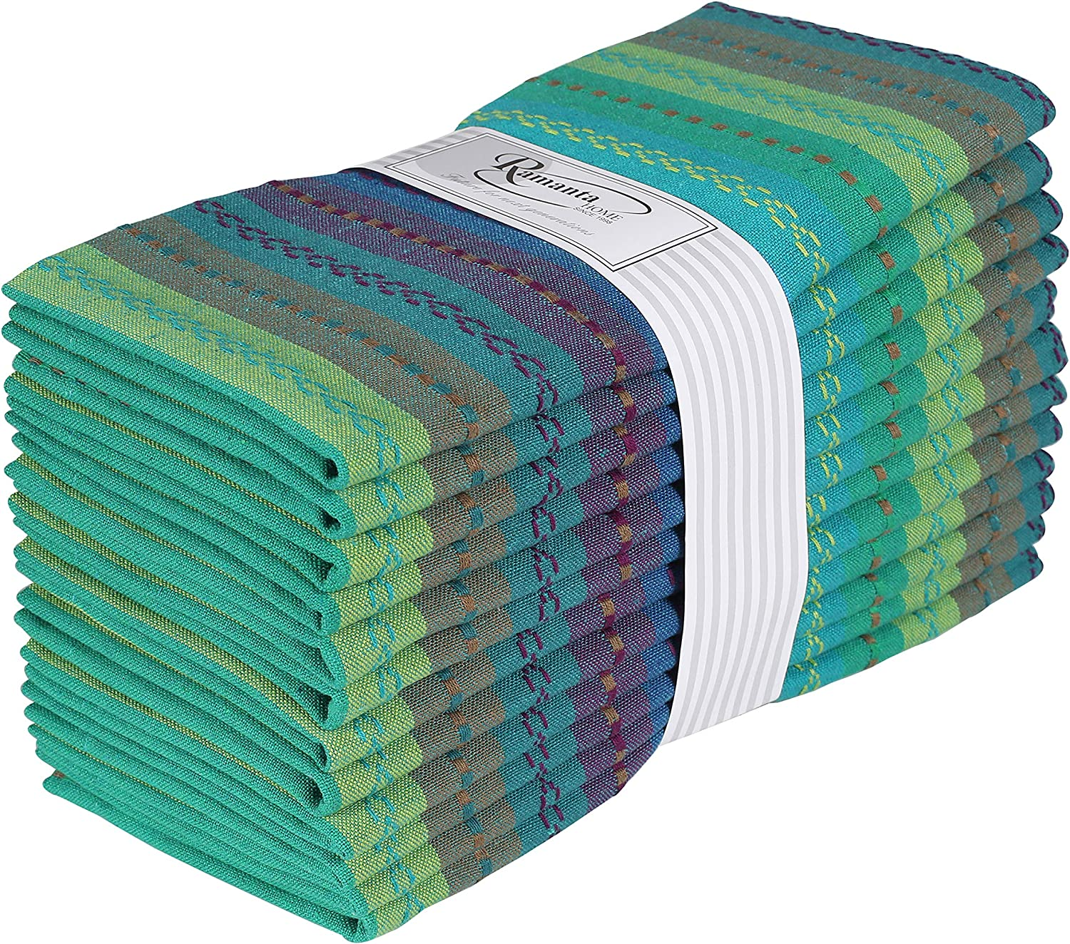 Ramanta Home 12-Pack Salsa Stripe 100% Cotton Dinner Napkin Oversized 20x20 with Mitered Corners & Generous Hem - Teal Multi