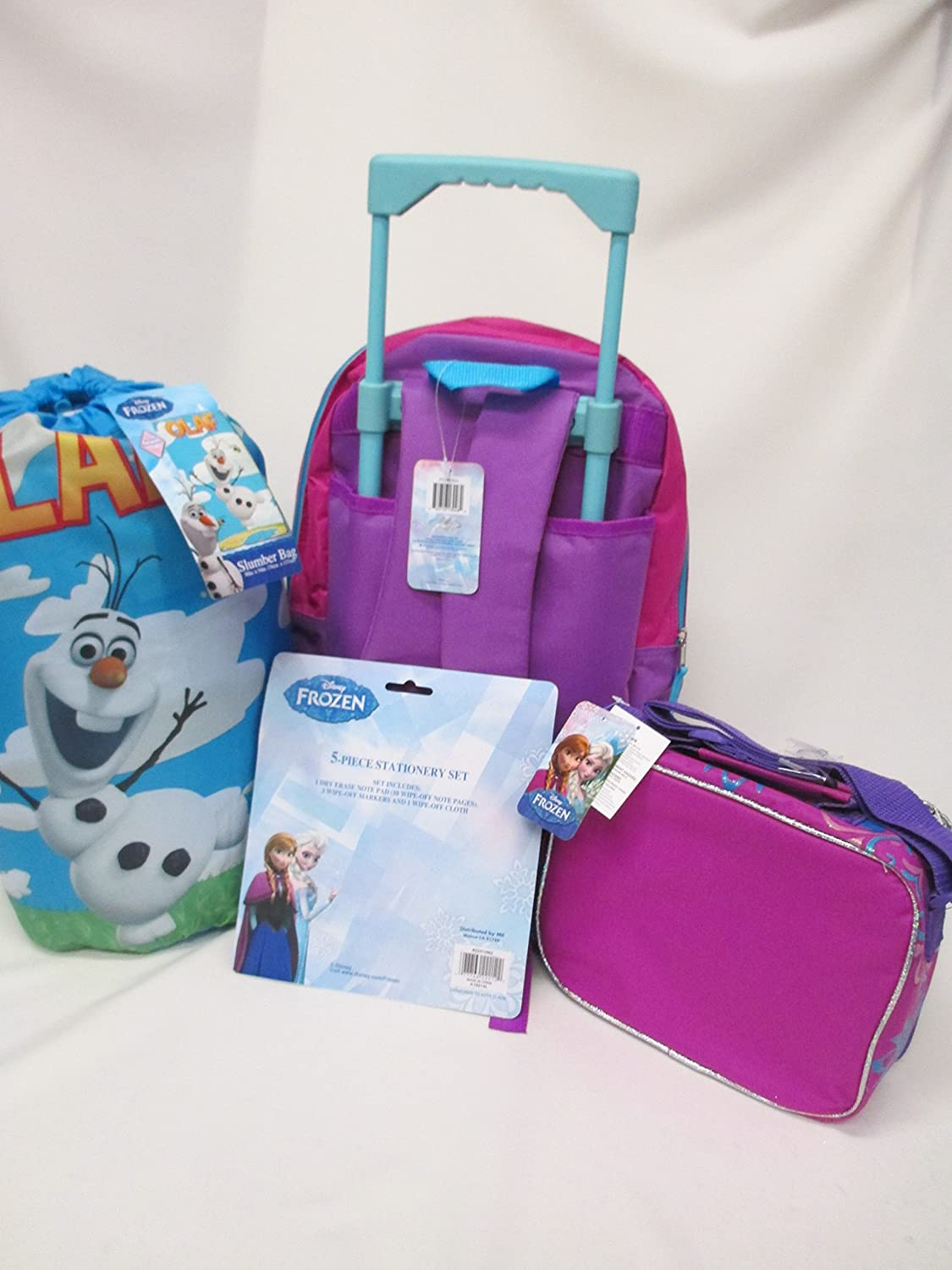 Frozen Disney Large 16 Rolling Wheeled Backpack Lunchbox /& Pencil Pouch!