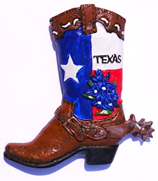 Amazon.com: Texas Cowboy Boot, souvenir, High Quality Resin 3d ...