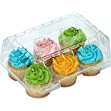 """Clear Cupcake Boxes Cupcake Containers Plastic Disposable cupcake boxes carrier containers 4"""" High for high topping - Holds 6 Cupcakes Each- 12/Pack"""