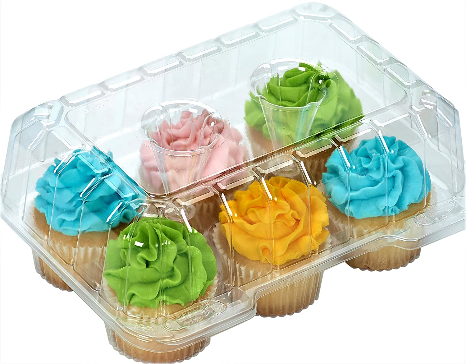 6 compartment Clear Cupcake Muffin Containers with Hinged Lid - 12 Containers Great for standard size cupcakes and muffins SYNCHKG125961