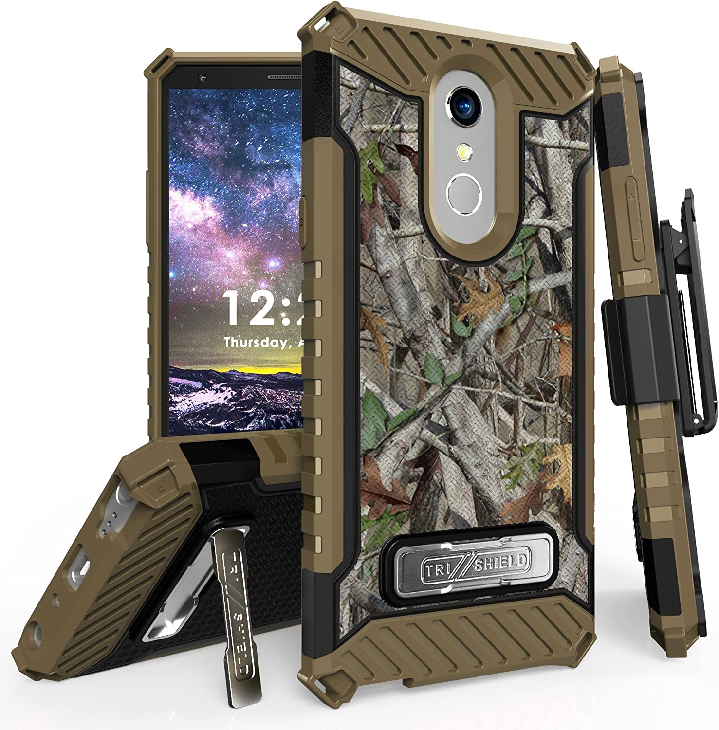 """for 6.2"""" LG Stylo 4 Case, LG Q Stylus Case Holster Phone Case 12ft Military Grade Drop Tested Belt Clip Kick stand Hybrid Armor Cover (Camo)"""