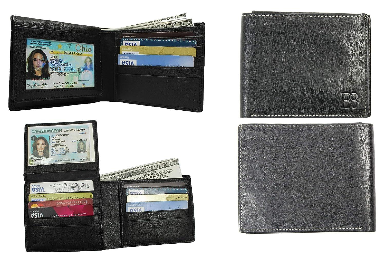 BB RFID Bloquea el Estuche de Tarjeta de Ventana ID para Billetera de Bolsillo para Hombre con 2 Ranuras de ID y 10 Ranuras para Tarjetas: Amazon.es: ...