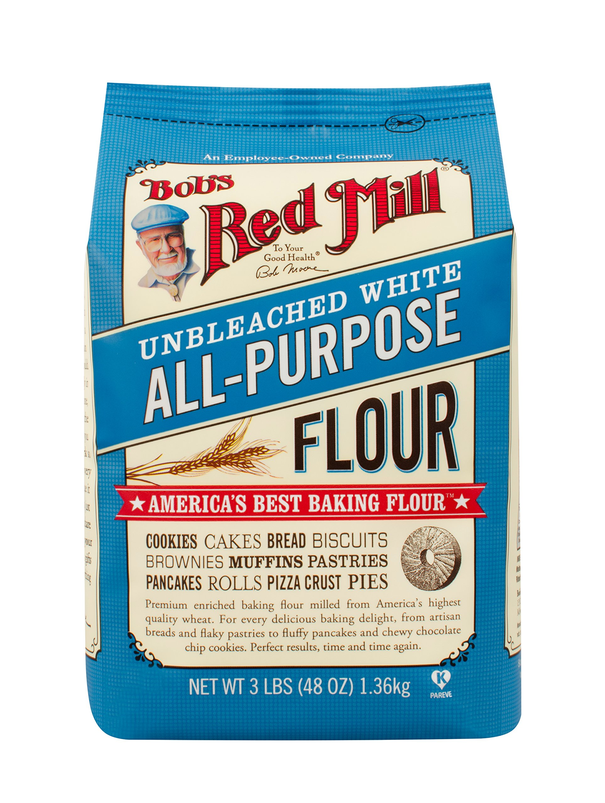Bob's Red Mill Unbleached White All-Purpose Baking Flour, 48-ounce (Pack of 4) by Bob's Red Mill