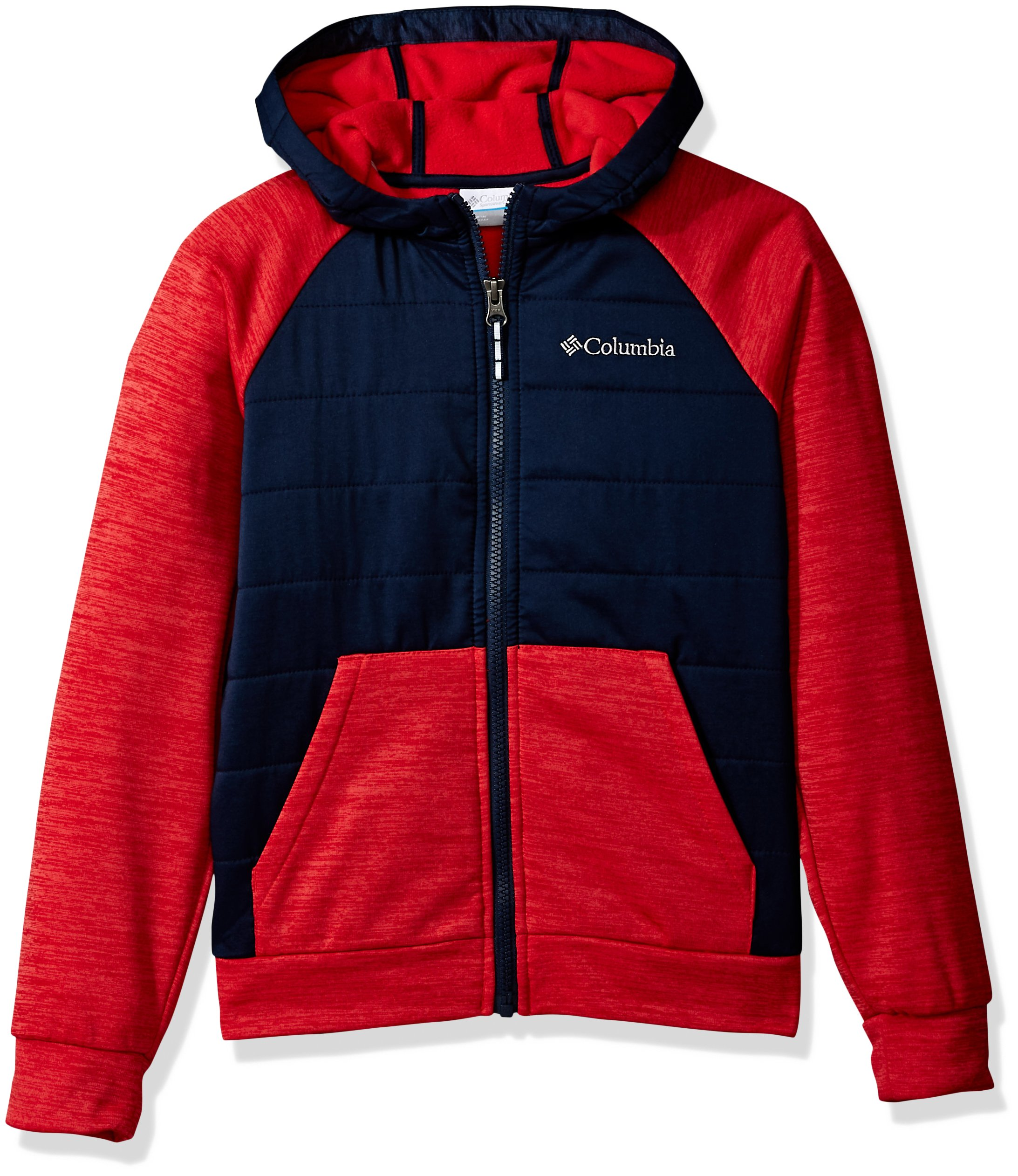 Columbia Boys' Little S'More AdventureHybrid Hoodie, Bright red Heather, coll Navy, XS
