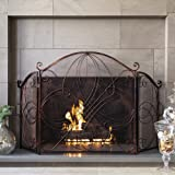 Best Choice Products 3-Panel 55x33in Solid Wrought Iron See-Through Metal Fireplace Screen, Spark Guard Safety Protector w/Decorative Scroll, Antique Copper Finish