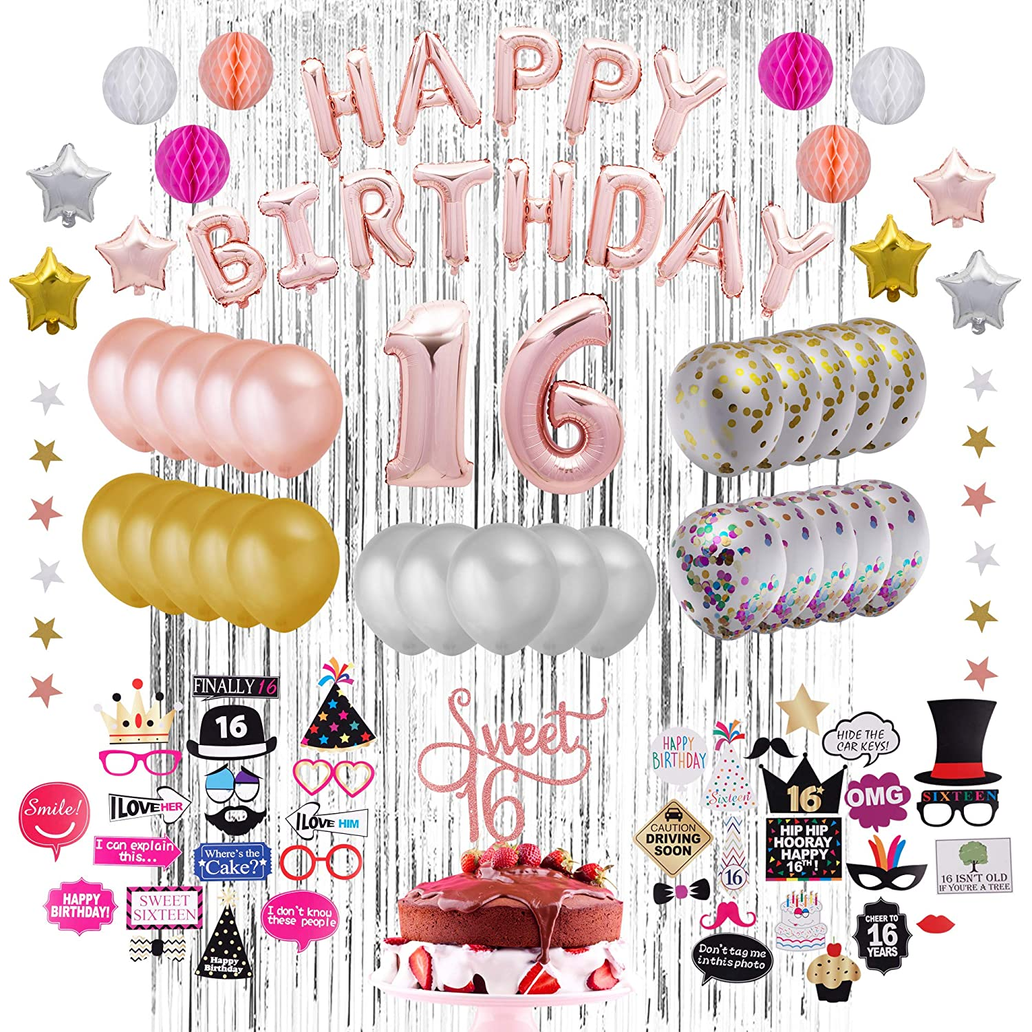 73 Piece Sweet 16 Party Decoration Kit
