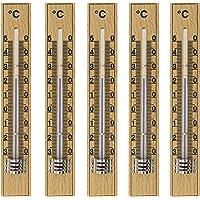 Lantelme lot de 5 lames bois de hêtre thermomètre analogique pour l'intérieur et l'extérieur fabriqué en allemagne.