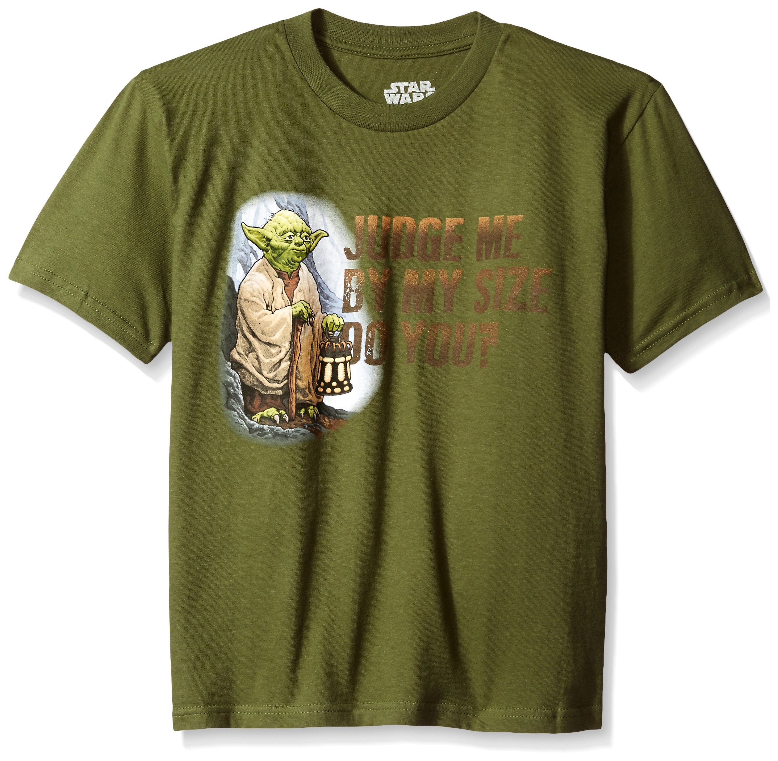 Star Wars Boys' T-Shirt, Olive, Large