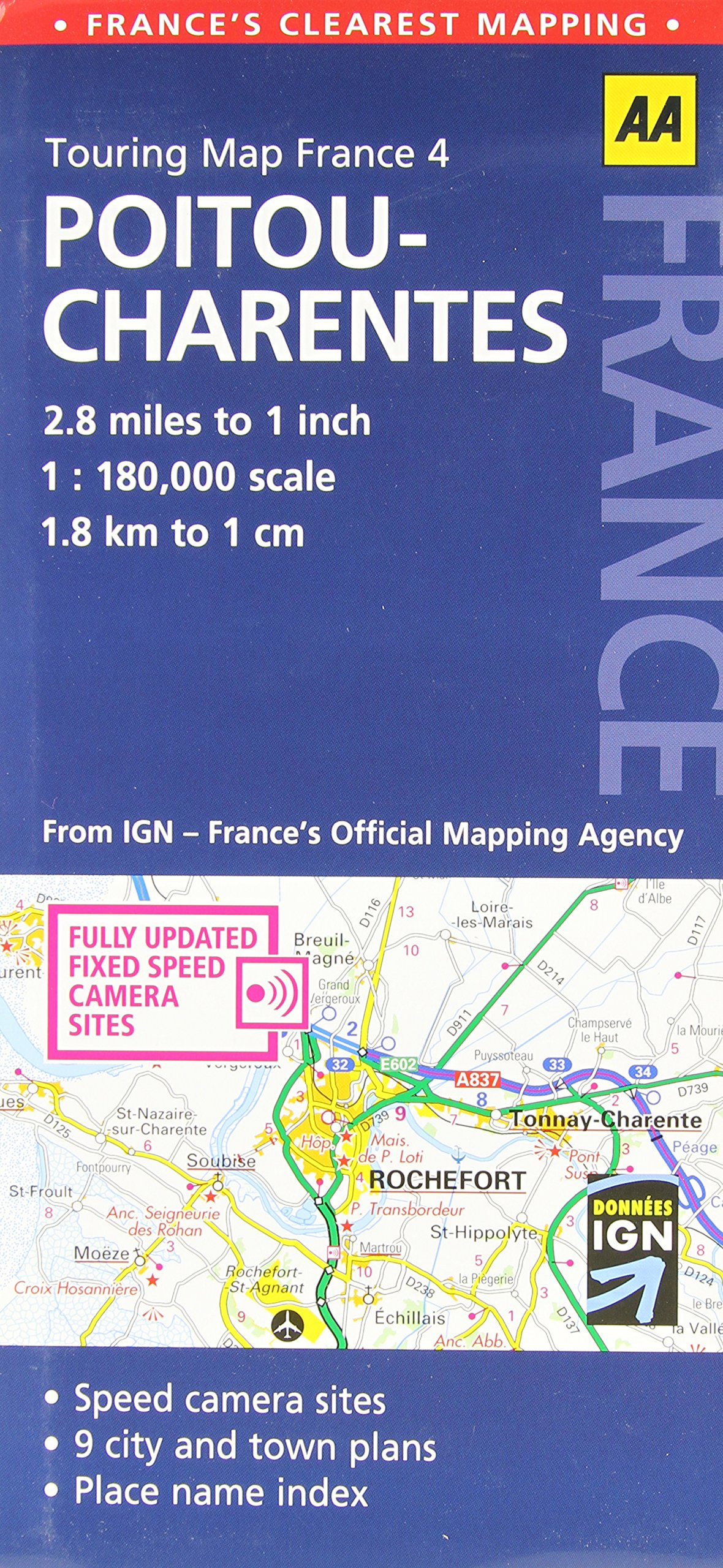 Poitou France Map.Touring Map Poitou Charentes Touring Map France Aa Publishing