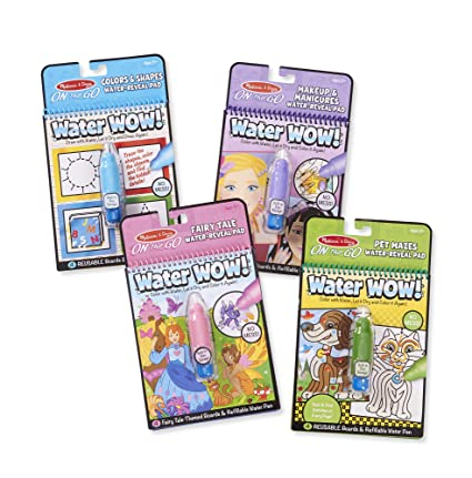 Melissa & Doug On The Go Water Wow! 4-Pack (The Original Reusable  Water-Reveal Coloring Books - Pets, Colors, Fairy Tale, Makeup -Great Gift  for Girls ...