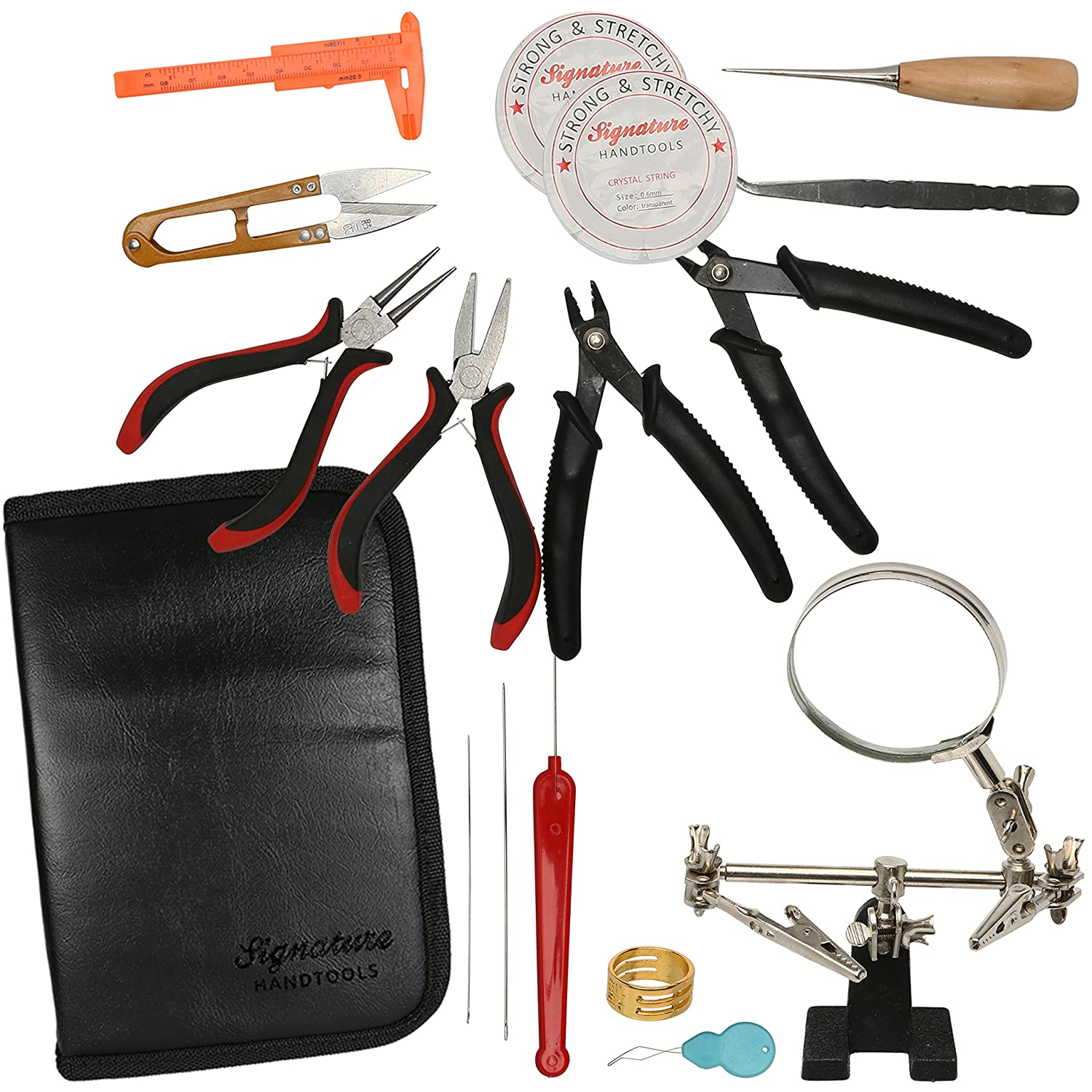 Deluxe 16pc Jewelry Making Supplies Kit - Jewelry Pliers, Magnifier Stand & Bead Crimper Great for Beading, Wire Wrapping, This Crafting Kit Does it All in a Professional Storage Case Signature HANDTOOLS 4336836334