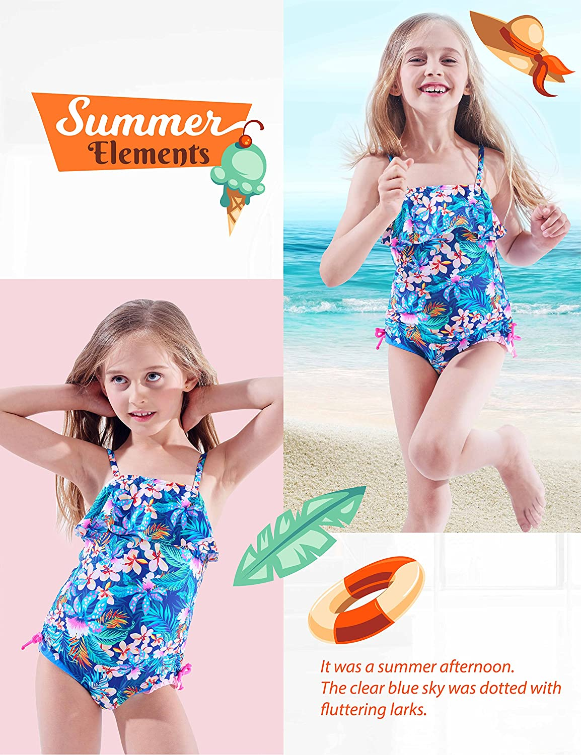 Floral Ruffle Tropical Swimsuit IKALI Girls One Piece Swimwear Beach Bathing Suit for Toddler