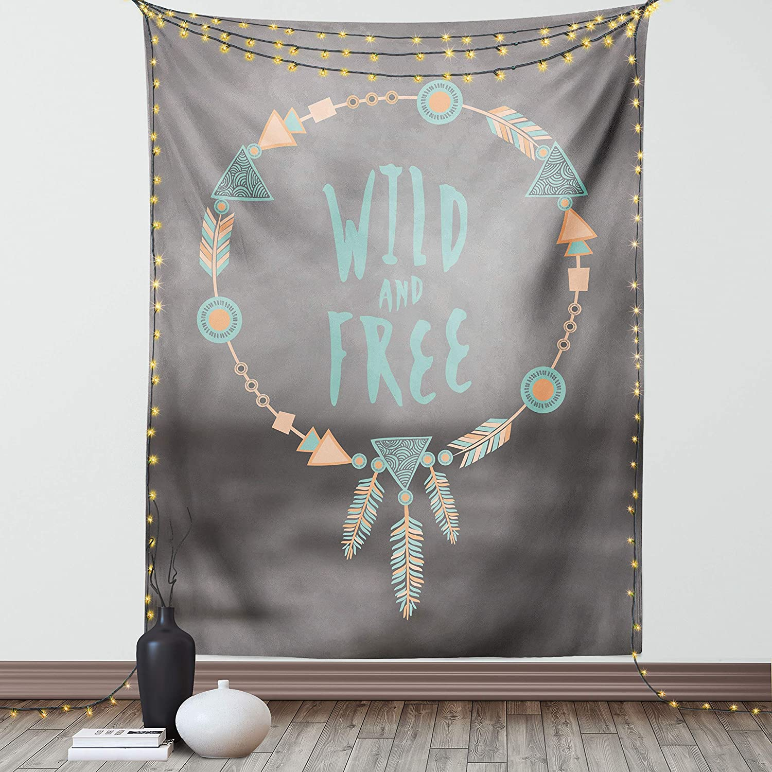 Lunarable Tribal Tapestry, Dream Catcher Wild and Free Pastel Culture Folk Print, Wall Hanging for Bedroom Living Room Dorm Decor, 40