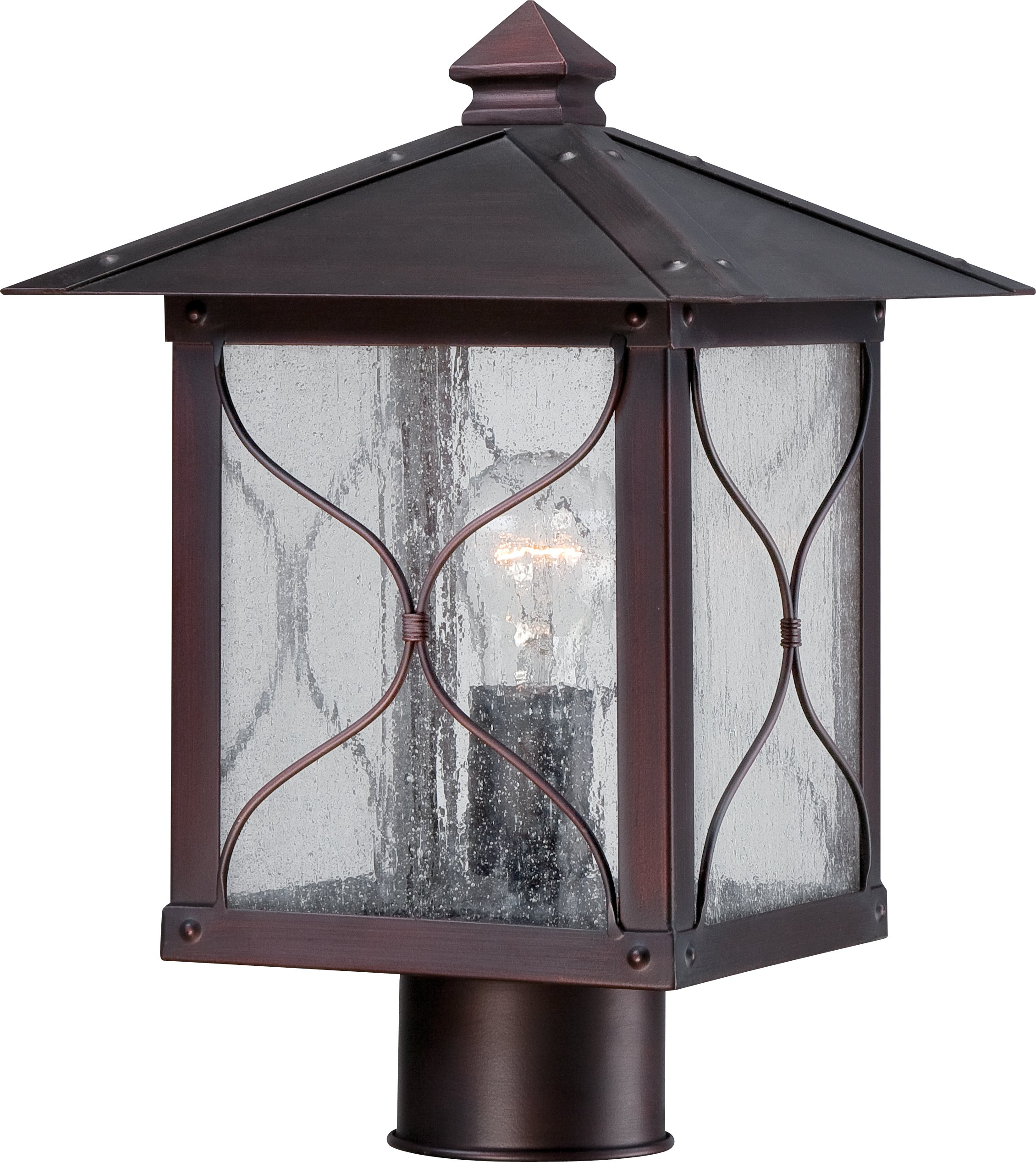 Nuvo Lighting 60/5615 Vega Post One Light Lantern 100-watt Outdoor Porch and Patio Lighting with Clear Seeded Glass, Classic Bronze by Nuvo Lighting
