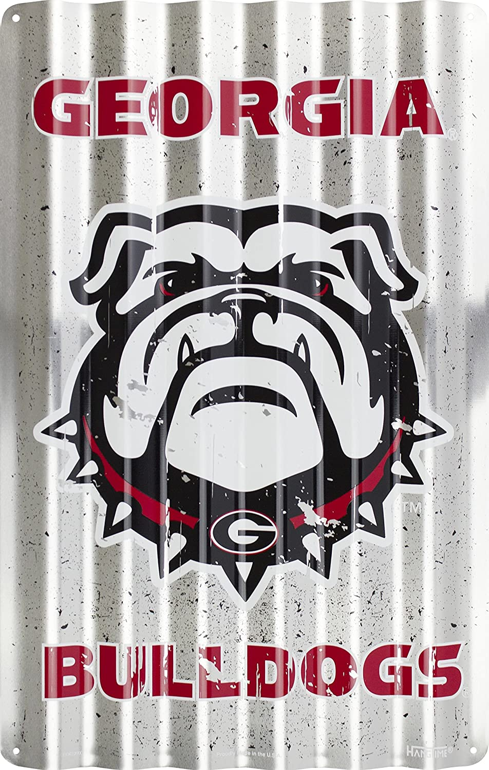 HangTime Georgia Bulldogs Corrugated Sign 12 x 18 Embossed