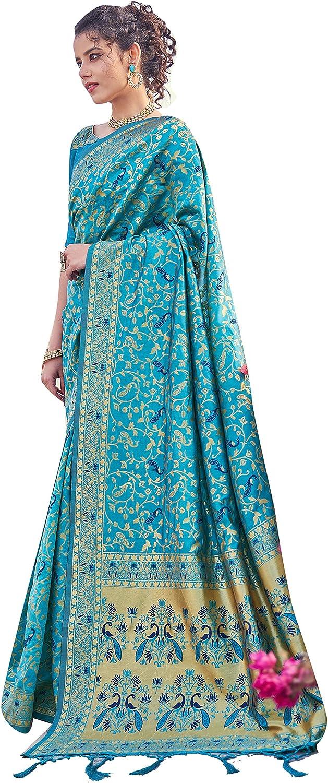 Sarees for Women Banarasi Art Silk Woven Saree || Designer Indian Wedding Gift Sari with Unstitched Blouse
