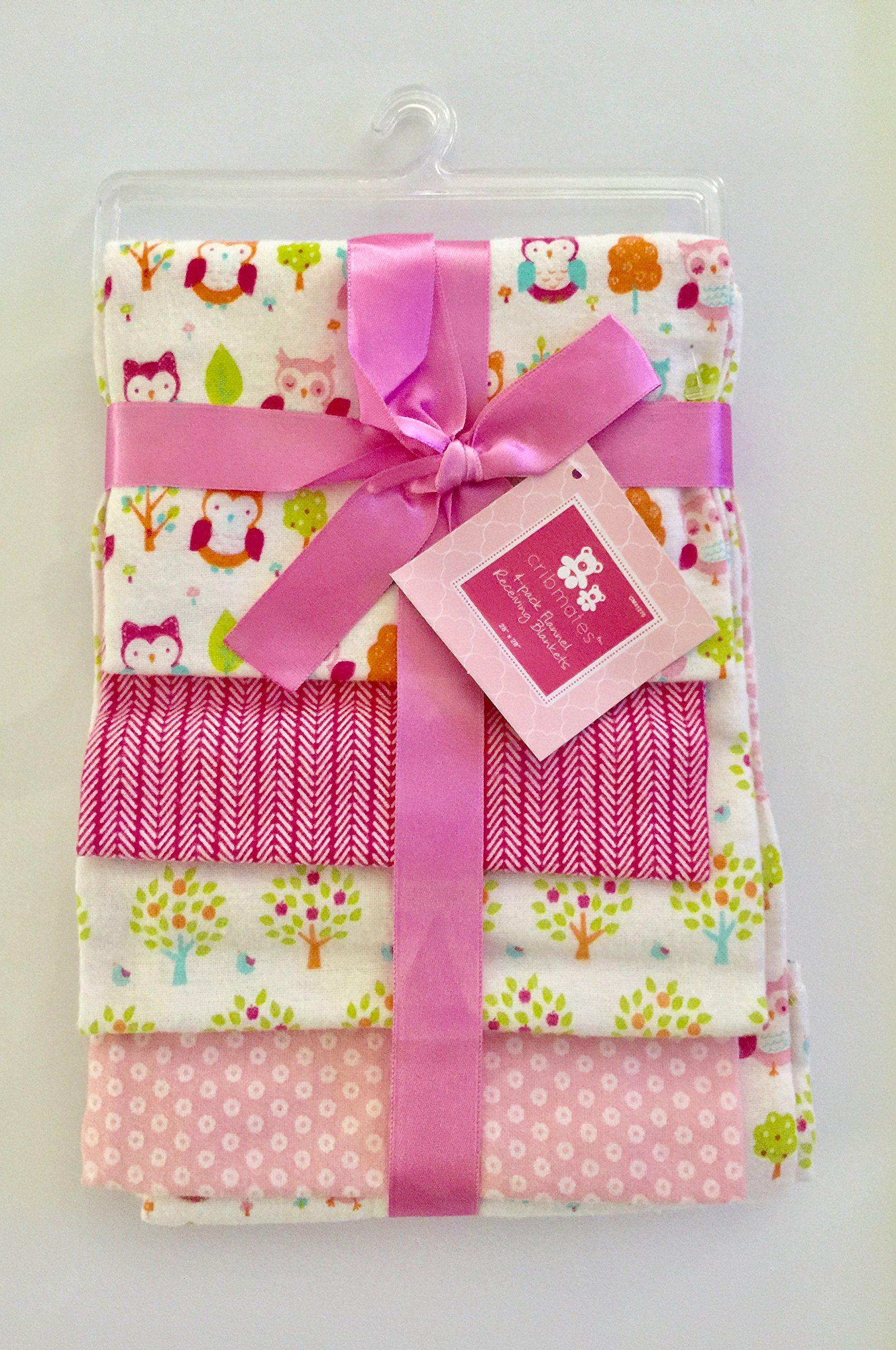 Colorful Owl 4 Pack Receiving 100% Cotton Flannel Blankets by CRIBMATES