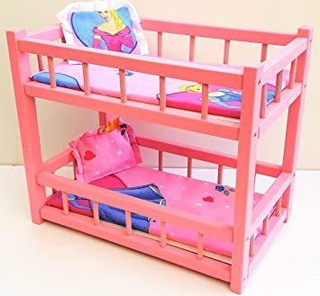 Nattoyz Wooden Toy Bunk Bed For 2 Dolls Fit Dolls Size 14 Amazon