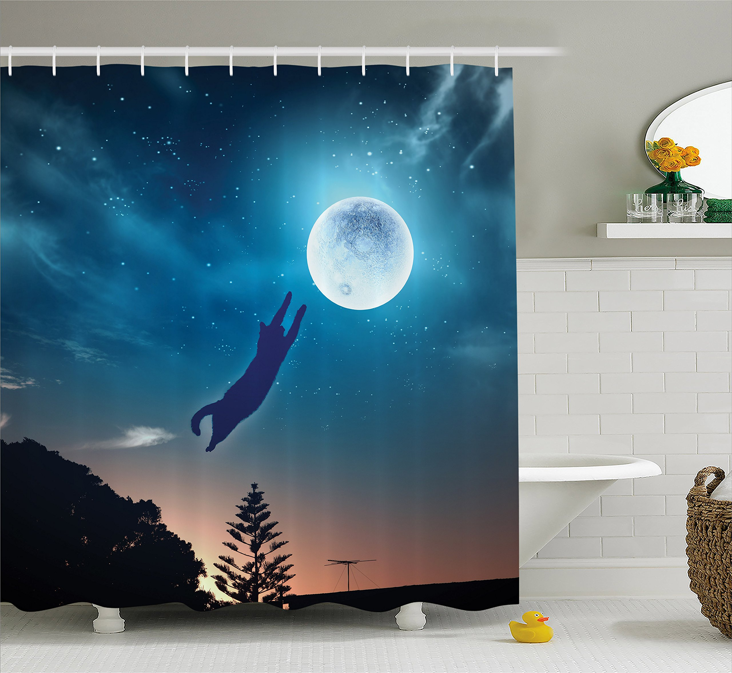 Ambesonne Cat Shower Curtain, Cat Jumping in The Air Catching The Moon at Night Sky with Stars Fantasy Artwork, Fabric Bathroom Decor Set with Hooks, 70 inches, Blue Magenta