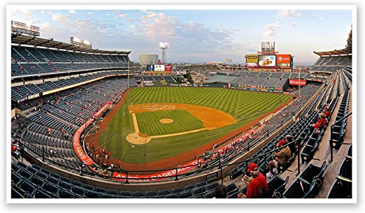 Amazon Com Artsycanvas Angel Stadium Of Anaheim Baseball Field 44x15 Matte Poster Print Wall Art Posters Prints