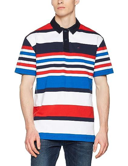 dc349f3c Tommy Jeans Men's Stripe Short Sleeve Rugby Regular Fit Sweatshirt: Amazon. co.uk: Clothing