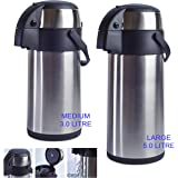 Stainless Steel Pump Action Vacuum AirPot Flask Jug - Ideal For Hot And Cold Beverages Drinks Tea Coffee Water (Medium (3L))