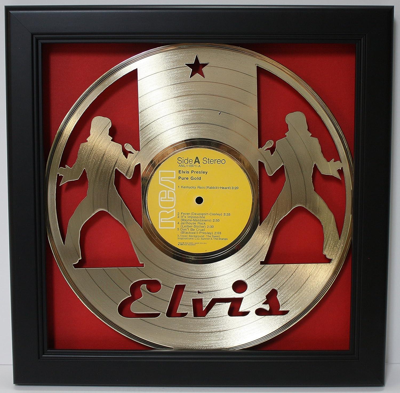 Elvis Presley Framed Laser Cut Gold Plated Vinyl Record in Shadowbox Wallart