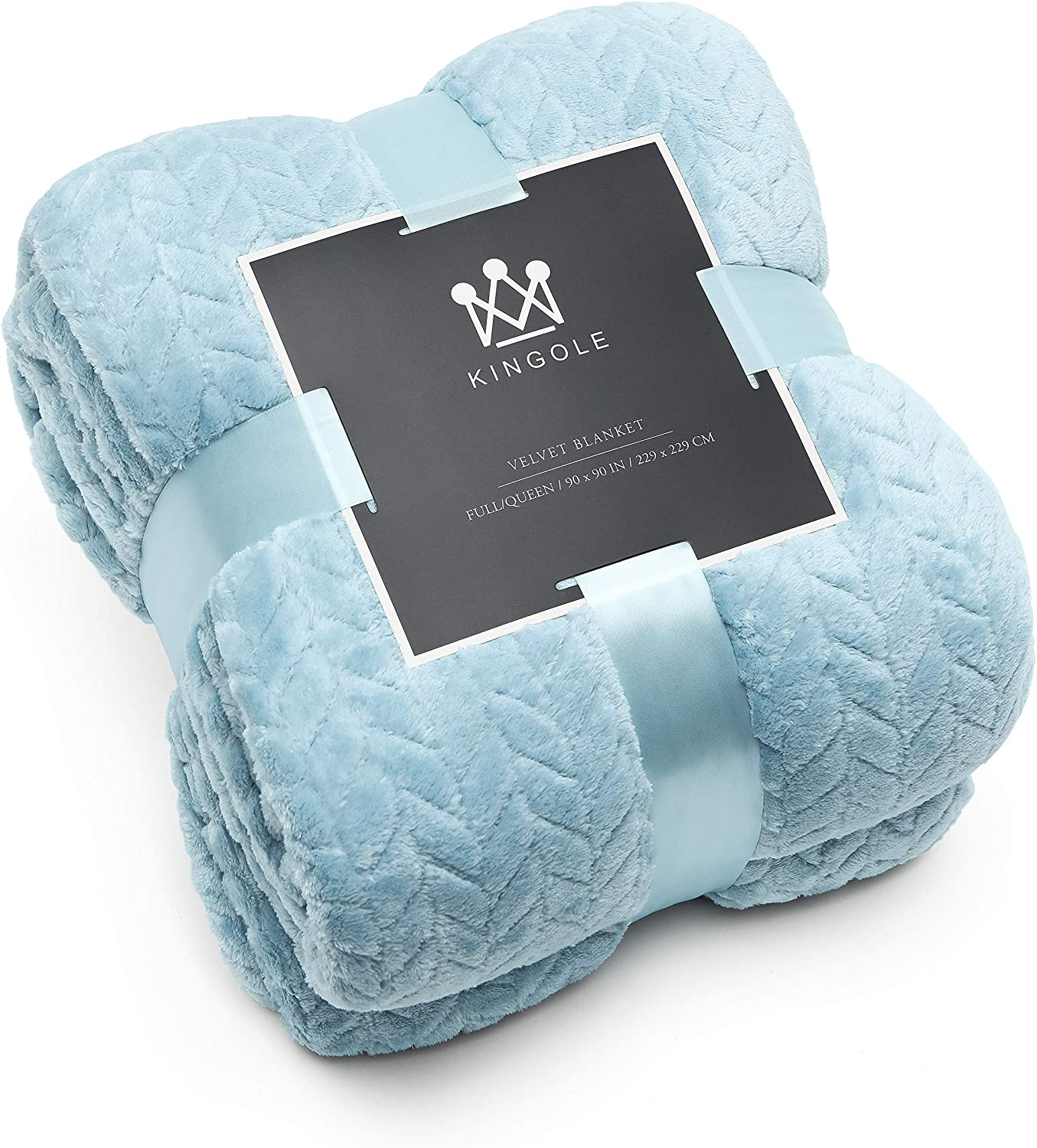Kingole Flannel Fleece Luxury Throw Jacquard Weave Blanket, Light Blue Twin Size Leaf Pattern Cozy Couch/Bed Super Soft and Warm Plush Microfiber 350GSM (66 x 90 inches)