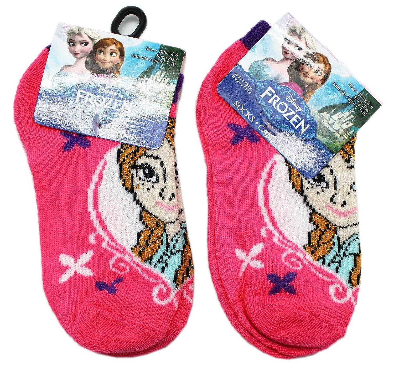 Disneys Frozen Hot Pink Anna Portrait Kids Socks 2 Pairs, Size 4-6