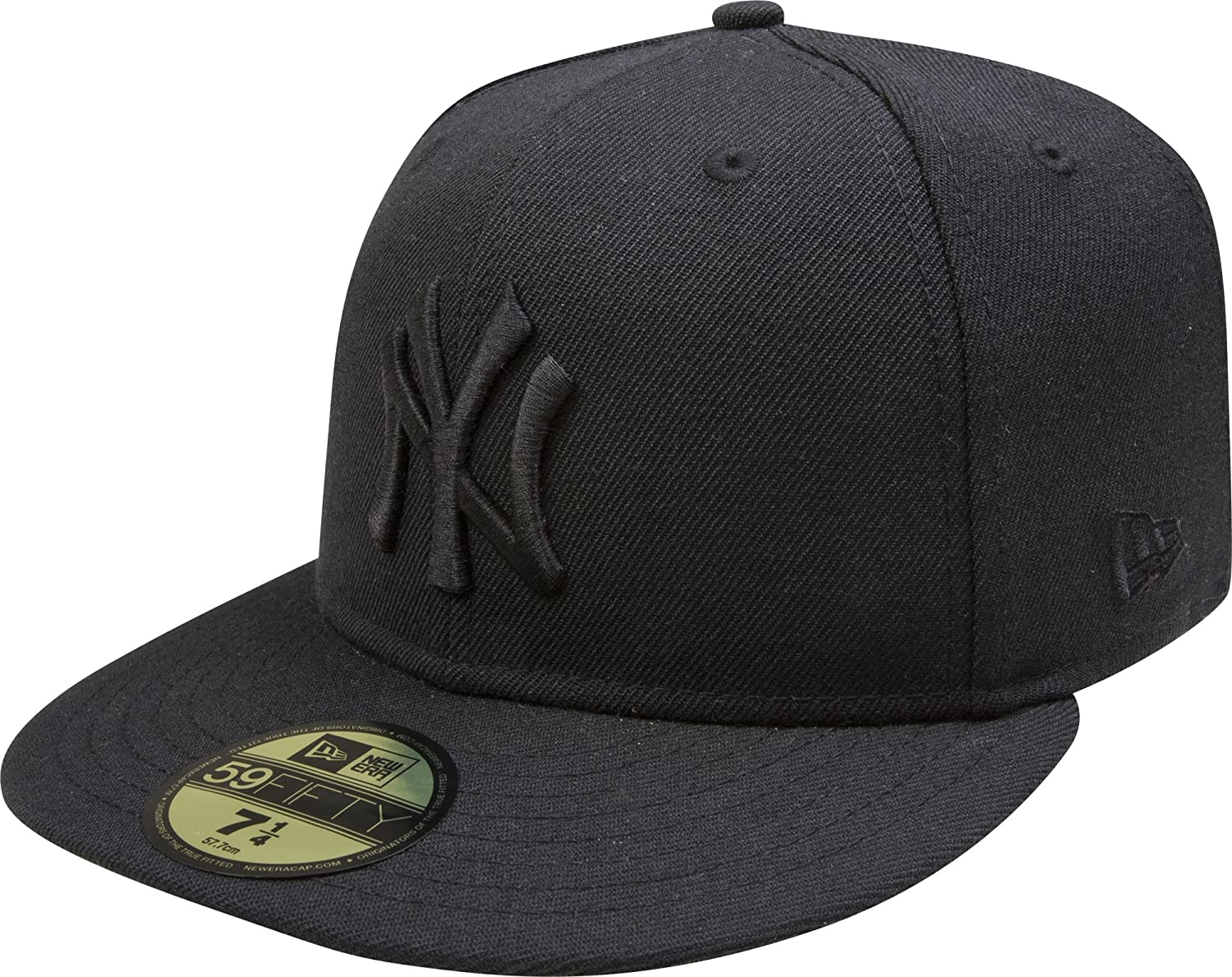New Era 59Fifty Hat MLB New York Yankees Big One Mens Black Fitted 5950 Cap Wool