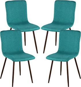 Poly and Bark Wadsworth Fabric Dining and Kitchen Side Chair with Metal Legs in Walnut Wood Color, Green (Set of 4)