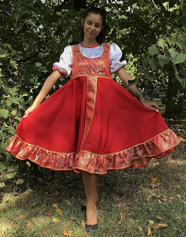 ea4629e15 Amazon.com: Russsian costume dress traditional dancewear red sarafan folk  outfit: Handmade
