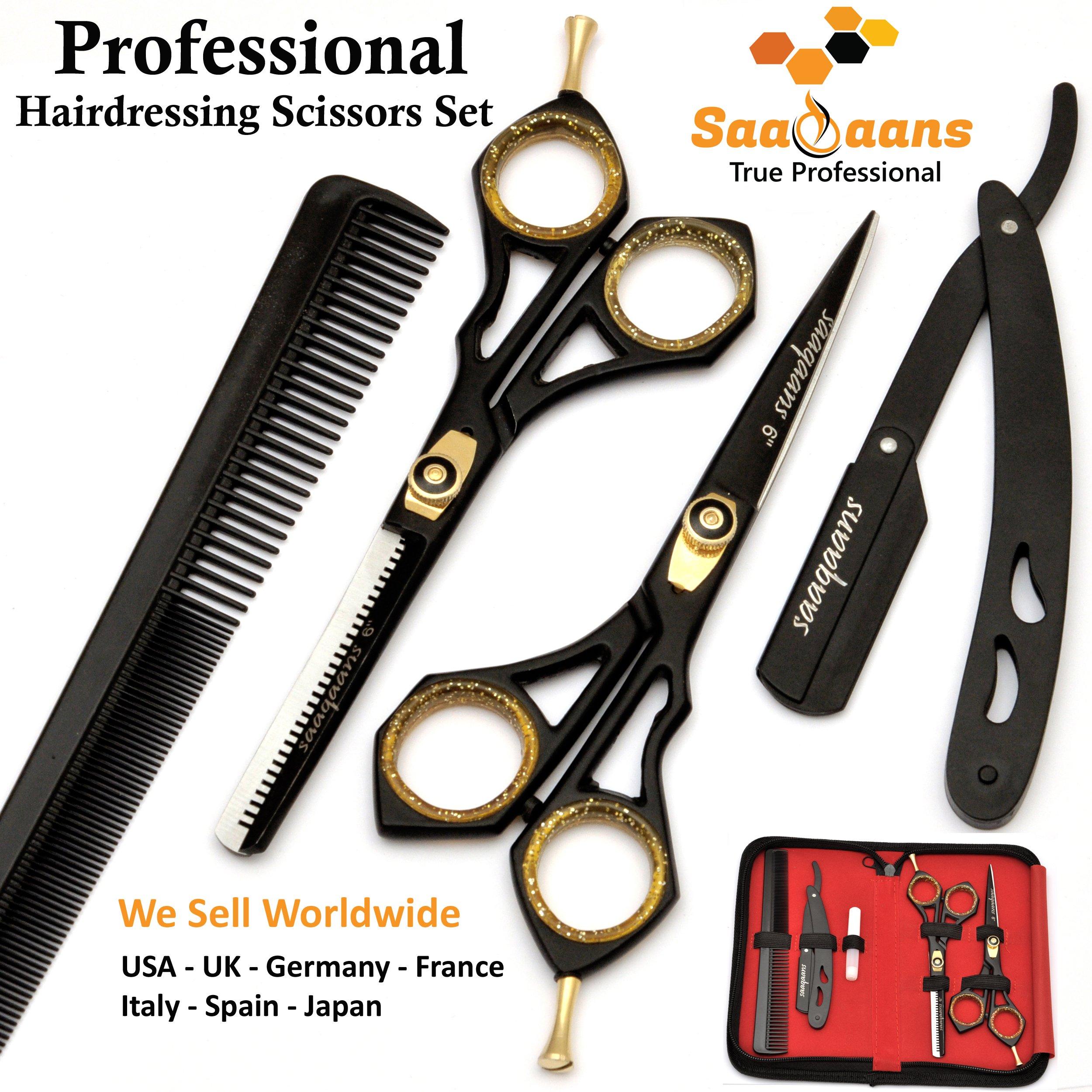 Saaqaans SQKIT Set de Ciseaux Coiffure Professionnel - Haute Qualité Ciseaux de Coiffeur - Perfectionnez pour la Coupe de Cheveux élégante, Garniture votre Barbe et Moustache product image