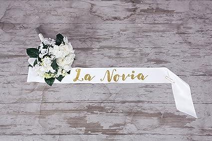 spanish bride to be sash la novia white satin ribbon with gold glitter encased in