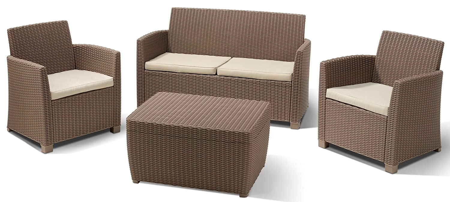 Allibert Lounge Set Corona mit Kissenbox Tisch 2
