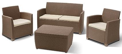 Allibert 212405 Lounge Set Corona mit Kissenbox-Tisch (2 Sessel, 1 Sofa, 1  Tisch), Rattanoptik, Kunststoff, cappuccino